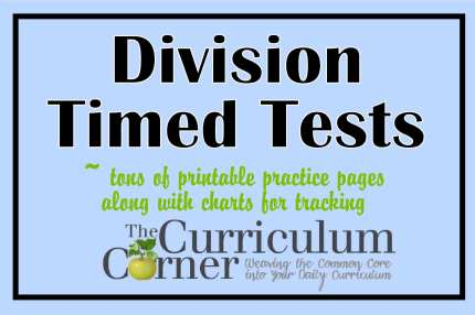 FREE Division Facts timed tests from The Curriculum Corner