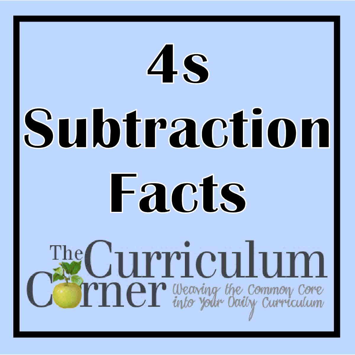 100 Subtraction Facts Timed Test Worksheet