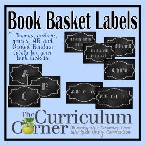 Chalkboard Themed Book Basket Labels
