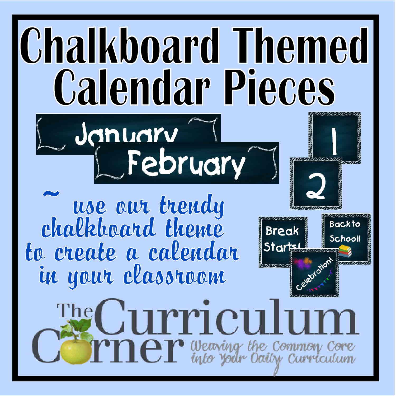 calendar pieces chalkboard theme