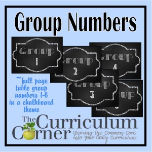 Chalkboard Table Group Numbers 1 through 6