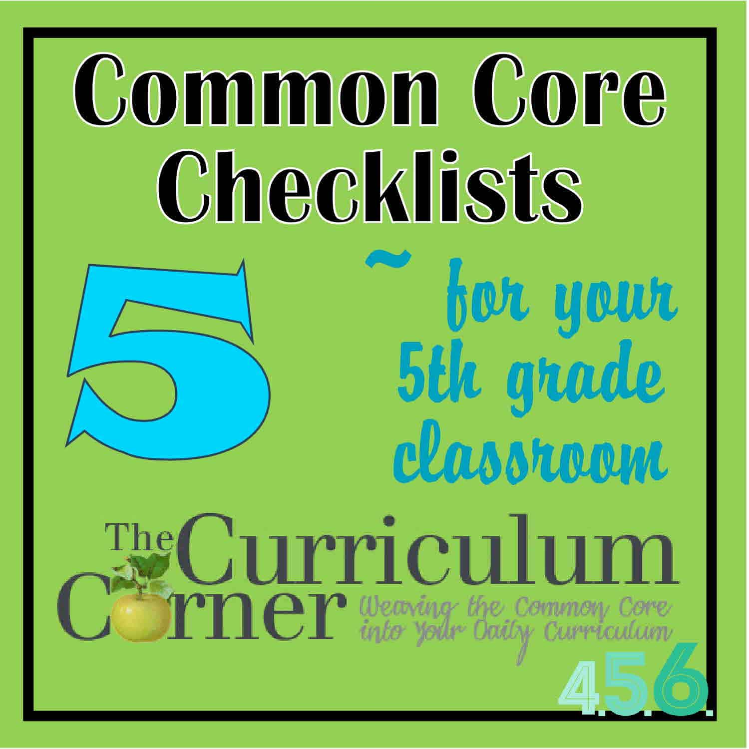 4th 5th And 6th Grade Common Core Checklists By The