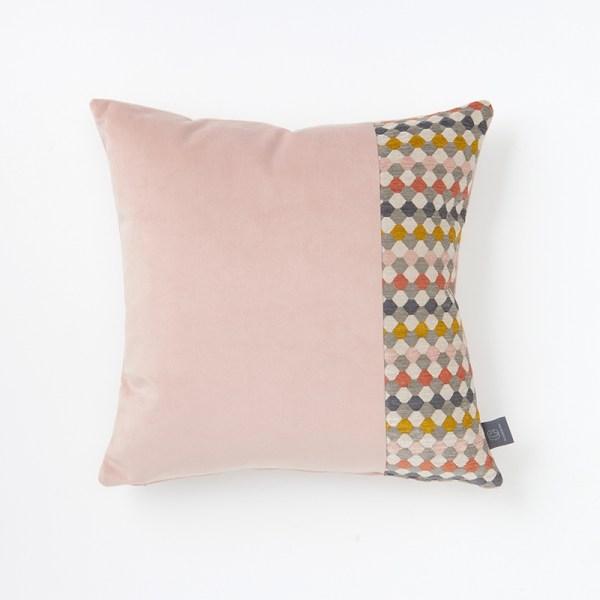 blush-pink-faux-velvet-hexagon-panel-cushion