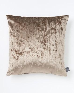 Latte Crushed Faux Velvet Cushion