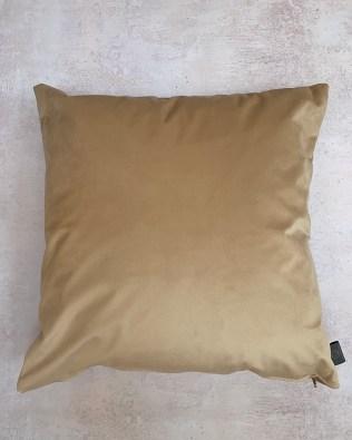 Golden Cream Faux Velvet Cushion
