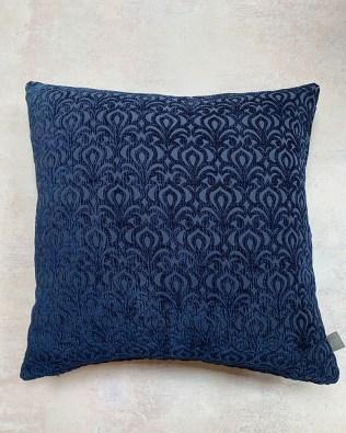 Navy Embossed Pattern Cushion
