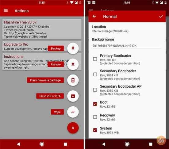 Резервное копирование Android ROM с помощью приложения Flashfire