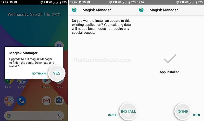 Обновите до Full Magisk Manager на вашем Xiaomi Mi A2 / A2 Lite при появлении запроса.