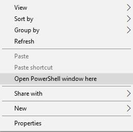 Переименовать исправленный образ TWRP - откройте PowerShell в Windows
