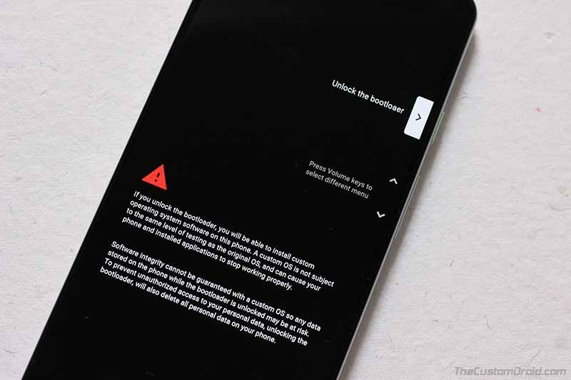 Подтвердите разблокировку загрузчика на Google Pixel 3a / Pixel 3a XL