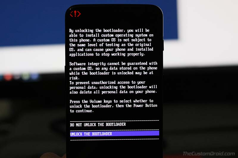 Разблокировать загрузчик на OnePlus 7 и OnePlus 7 Pro - подтверждающее сообщение
