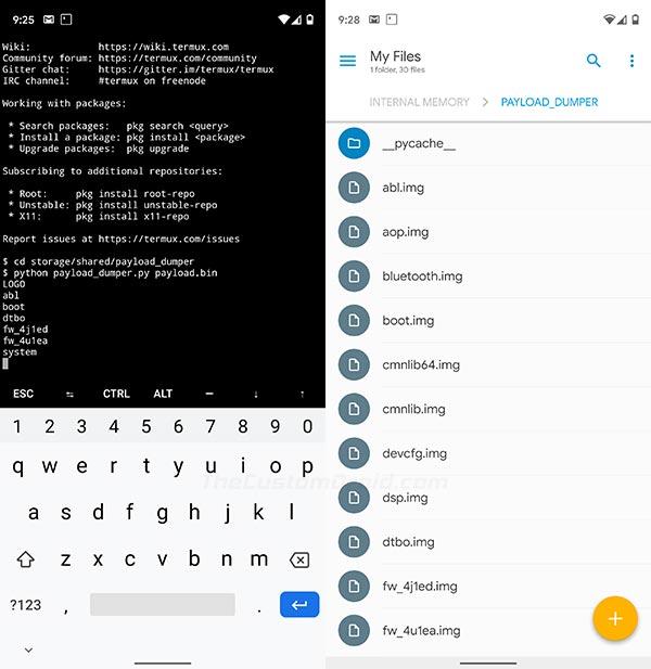 Извлечь файл бункера полезной нагрузки OTA на устройства Android