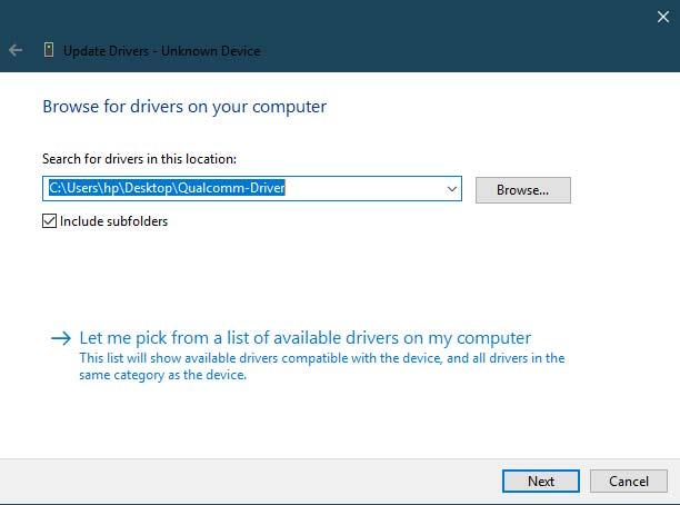 Установите драйверы Qualcomm HS-USB QDLoader 9008 - Ручной метод - выберите папку с драйверами