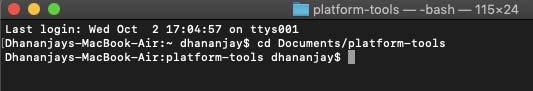 Разблокируйте загрузчик Xiaomi Mi A3 - cd в папку fastboot в macOS / Linux с помощью терминала