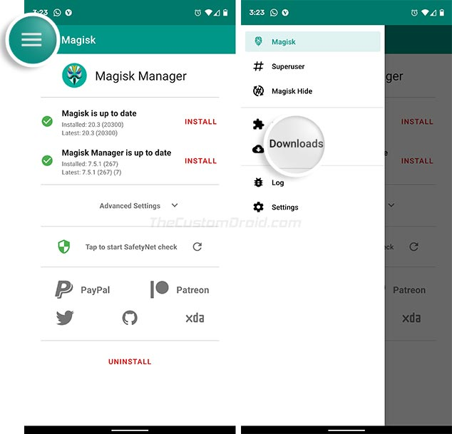 Перейдите в Magisk Manager> Downloads, чтобы установить Riru - Core Module.