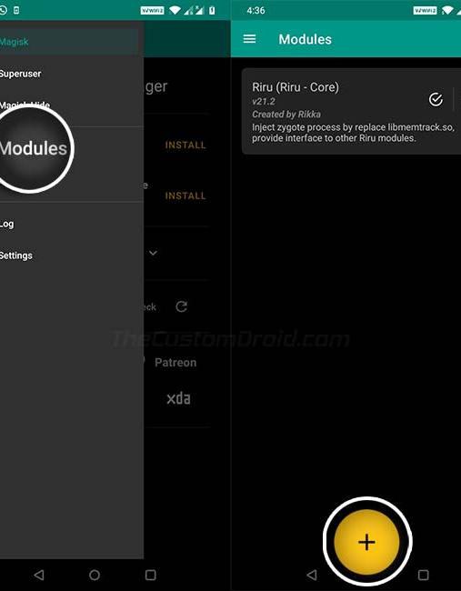 Включите AOD на OnePlus - перейдите в Magisk Manager> Модули.