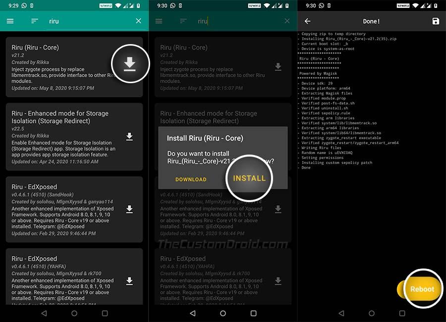Включите AOD на OnePlus - установите модуль Riru - Core через Magisk Manager
