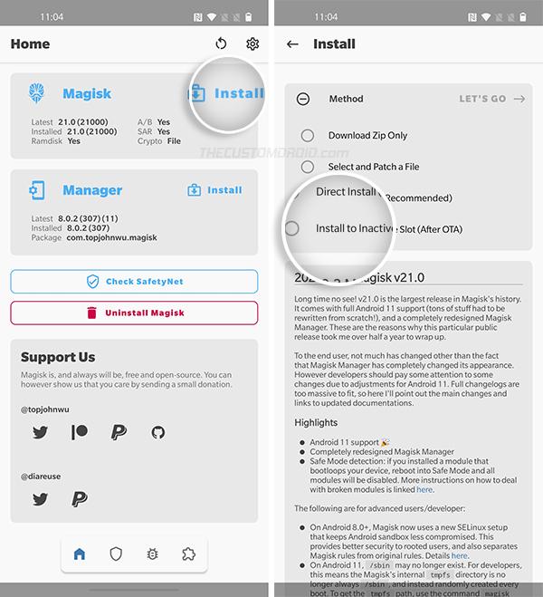 Установите Magisk в неактивный слот вашего OnePlus 8/8 Pro