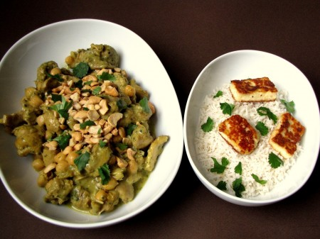 Peppery Chicken Curry, Paneer Cheese and Basmati Rice