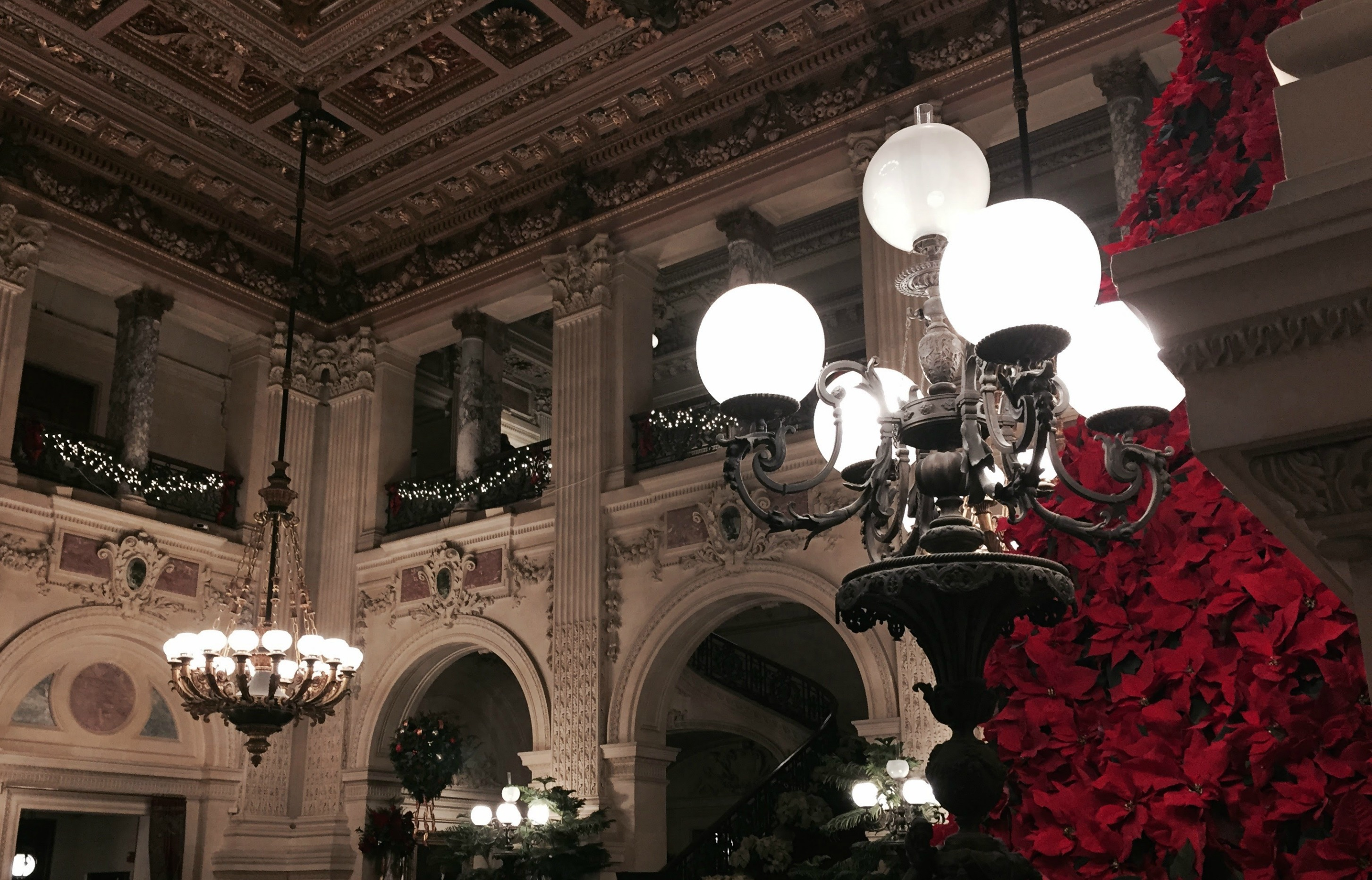 The Breakers Mansion in Newport, RI all dressed up for Christmas.