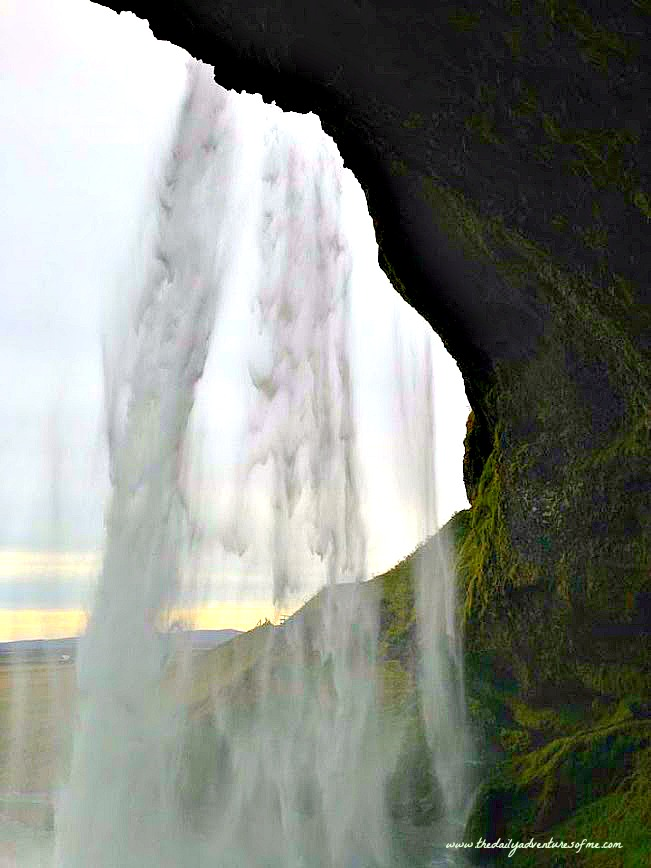 southern iceland road trip behind the waterfall in Iceland.