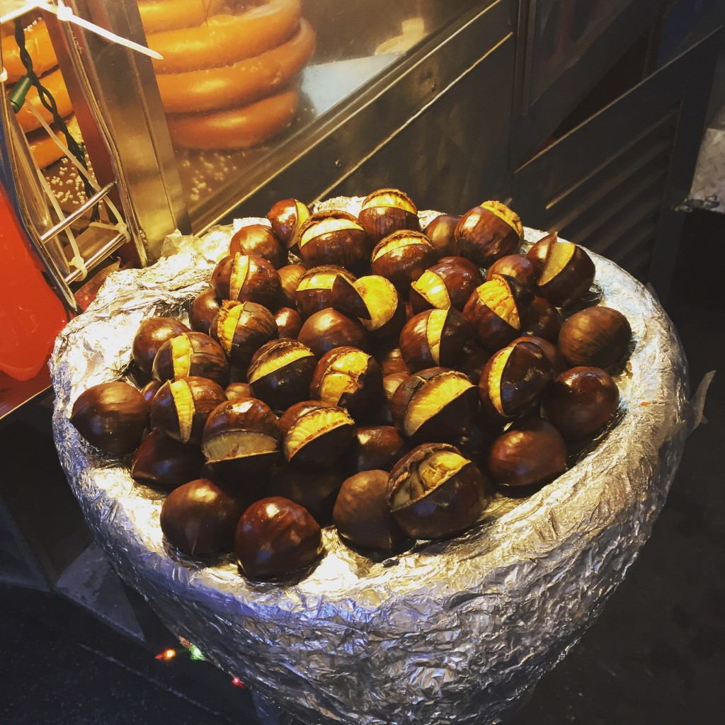 Roasting chestnuts fill New York's night air.