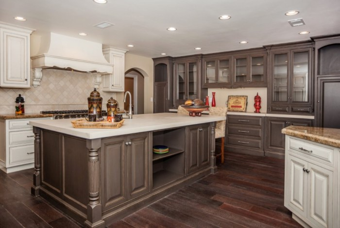 two tone distressed kitchen cabinets