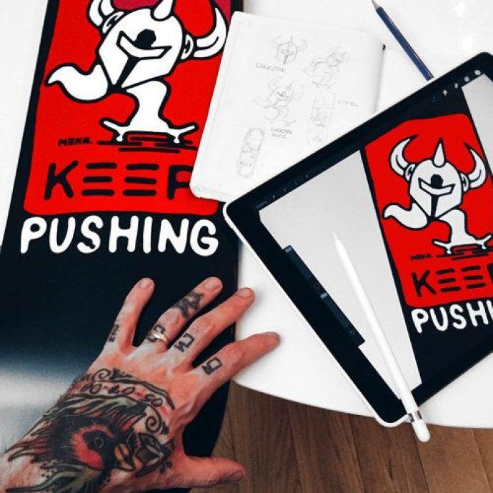 Keep Pushing by Meka x Darkstar Skateboards