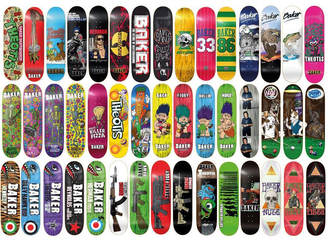 "A bunch of decks made by Mark ""Fos"" Foster when he was Art Director of Baker"