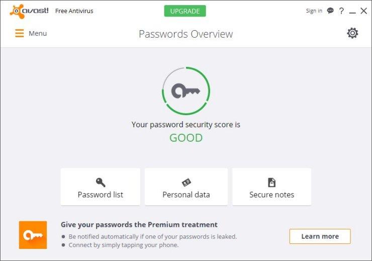 Avast Free Antivirus 2016 Password Manager