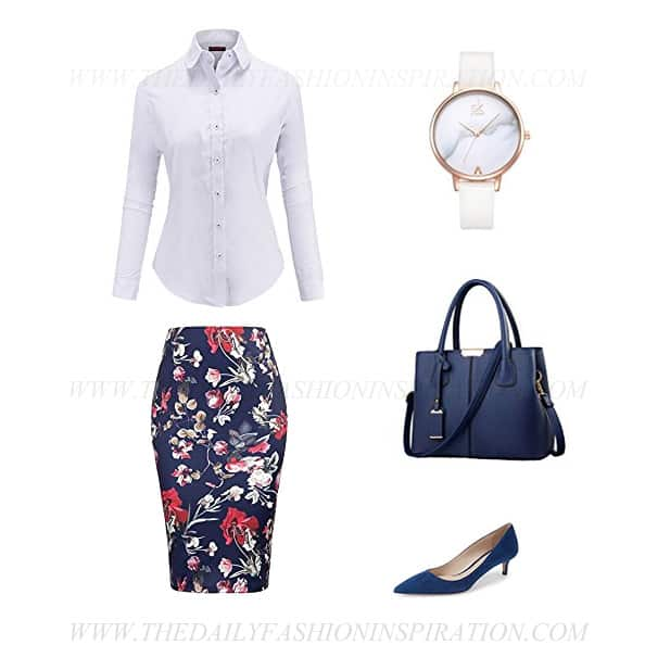 business casual white blouse printed skirt outfit