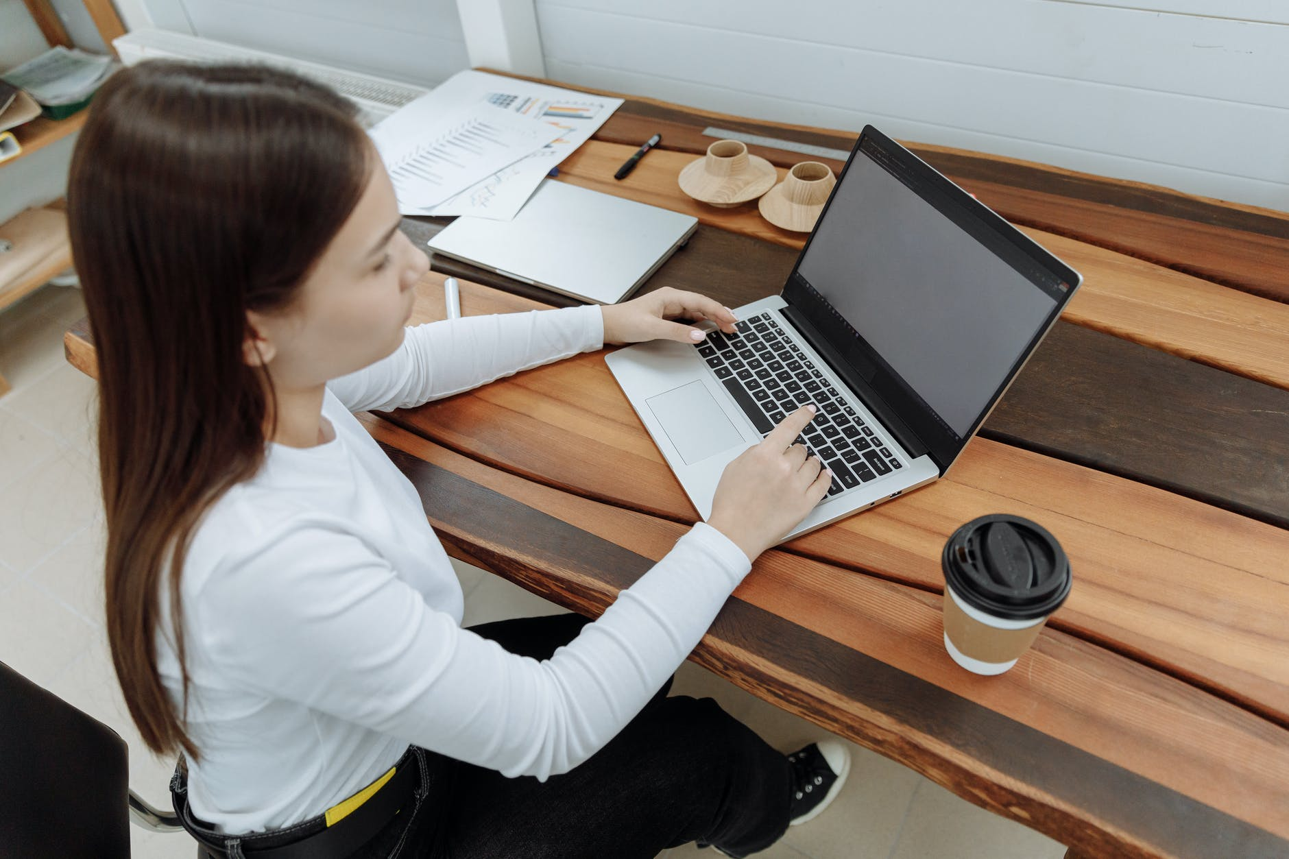 woman using her laptop for work