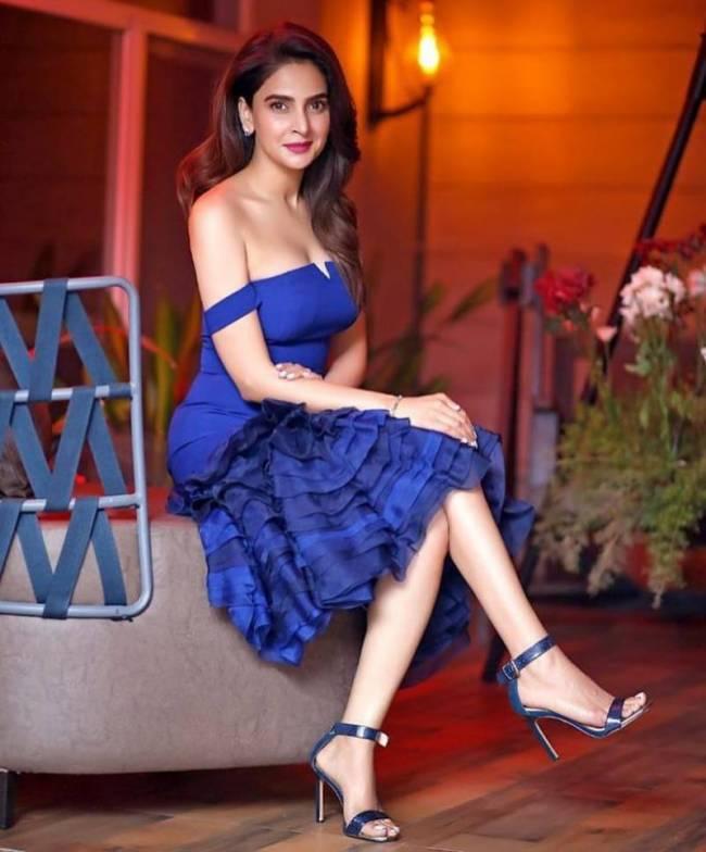 Saba Qamar Blue Dress Deep Neck