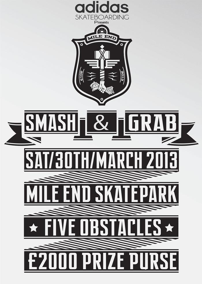 Smash & Grab at Mile End Slatepark Flyer Adidas Parlour 02