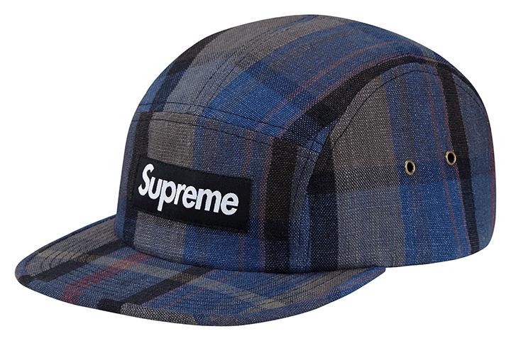 Supreme plaid linen camp caps 004