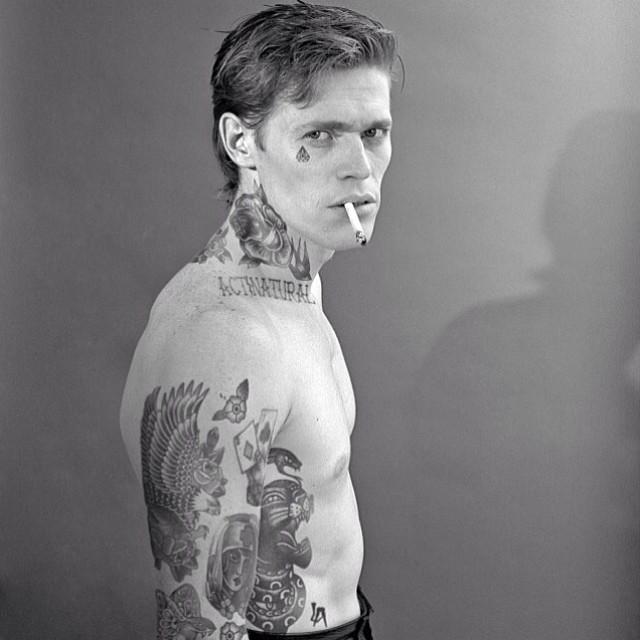 Willem Dafoe With Tattoos By Artist Cheyenne Randall