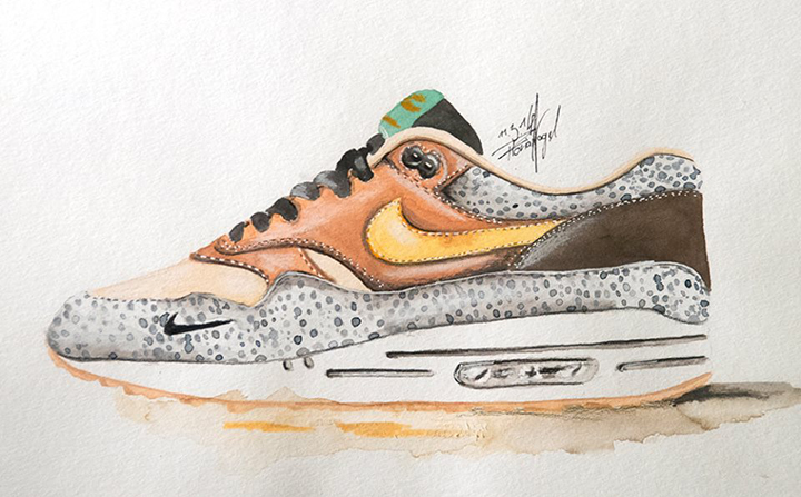 Nike Air Max 1 sneaker watercolour painting by Achildcolor 003