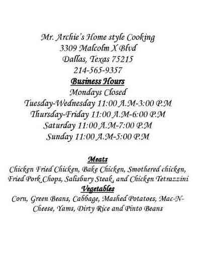 OPENING: Mr. Archie's Homestyle Cooking