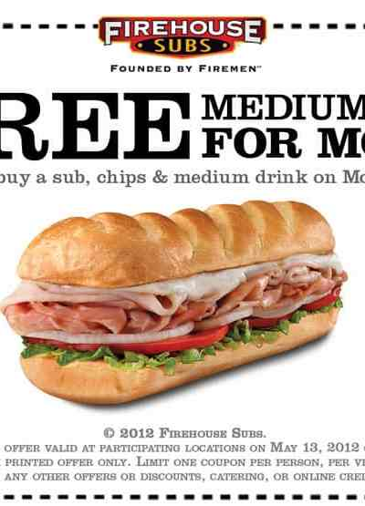 Buy a Sandwich for Yourself, Get One FREE for Mom at Firehouse Subs