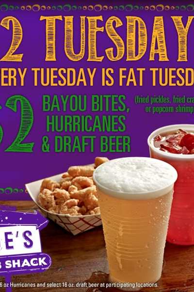 $2 Tuesdays at Joe's Crab Shack