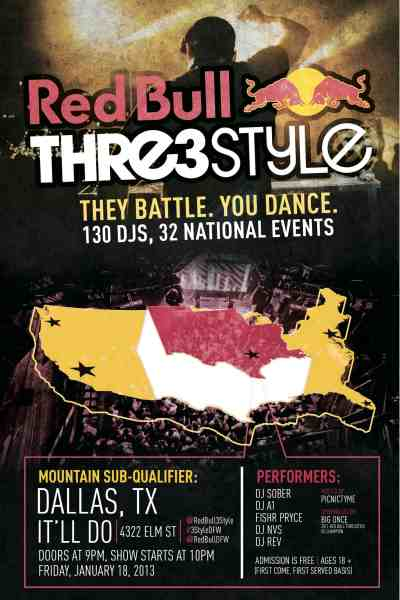 Red Bull Thre3Style Dallas Qualifier Takes Place on January 18th