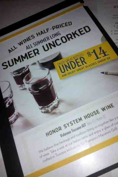Summer Uncorked: Macaroni Grill Offers Half Priced Wine All Day Every Day