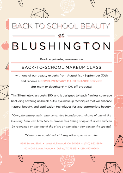 Back to School Classes at Blushington