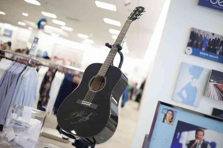 Blake Shelton signed guitar at Belk Gala Dallas Galleria