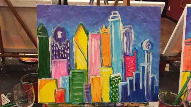 Finished Skyline painting at Pinot's Palette Lakewood