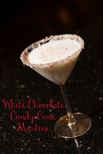 White Chocolate Candy Cane Martini #recipes #holiday #cocktail