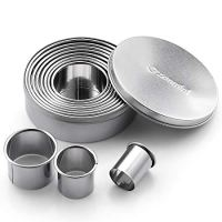 Round Cookie Biscuit Cutter Set 11 Circle Pastry Cutters Stainless Steel Baking Metal Ring Molds Round Cookie Cutters For Fondant, Donut and Muffins