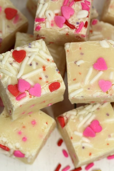 Valentine's Day Cake Batter Fudge