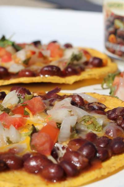 Bean and Cheese Tostadas Made with Bush's Savory Beans