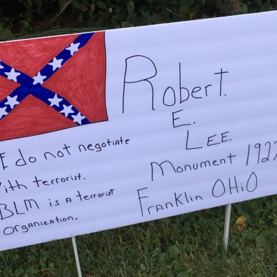A Picture of the Sign, The monument was hauled away overnight. Image Source: WCPO